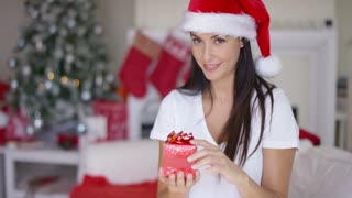 Gorgeous young woman offering a Christmas gift to the camera with a warm friendly smile inside her living room decorated with seasonal decorations