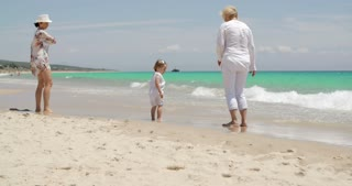 Grandma  Mom and Girl on Summer Beach Holiday