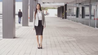 Grinning optimistic professional woman walking