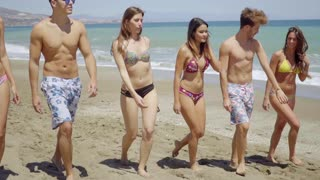 Group of diverse young friends walking on a beach