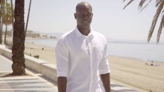 Handsome muscular African man on the seafront
