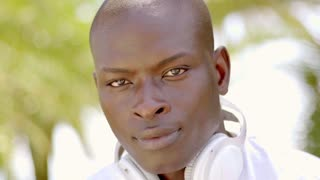 Handsome young African man with headphones