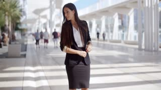 Happy Beautiful Business Woman Standing Outdoor