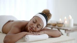 Happy Girl Relaxing In Spa Salon