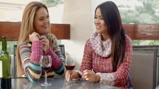 Happy Girls Having Wine at the Cafe