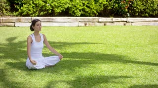 Lovely young woman meditating in the garden in summer sitting in the lotus position on green grass in the shade of a tree with a serene expression and eyes closed.