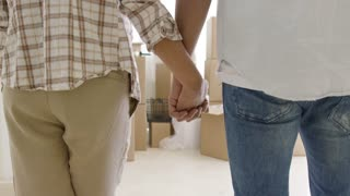 Loving young couple with their backs to the camera standing holding hands as they survey their new home and packing boxes