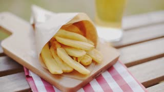 Packet of takeaway French fries