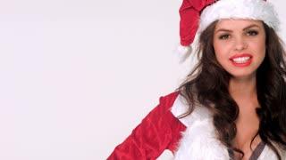 Portrait of Happy Girl in Santa Claus Costume