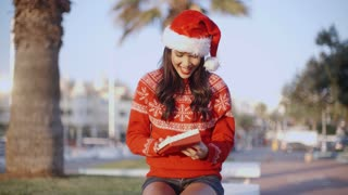 Pretty Young Woman in Santa Claus Hat