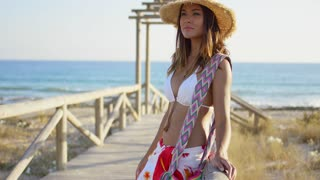 Pretty young woman relaxing against the rail on a wooden beachfront promenade staring off into the distance with a thoughtful expression