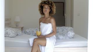 Relaxed Woman Drinking Orange Juice