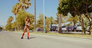 Retro Stylized Sexy Girl On Roller Skates