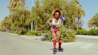 Roller Skate Girl Riding Along Tropical Street