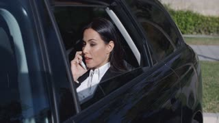 Serious young executive on phone in limousine