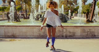 Sexy Afro American Girl on Her Roller Skates
