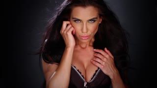 Sexy brunette wearing black lingerie