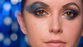 Sexy Female With Amazing Colorful Makeup on Her Eyes