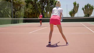 Sexy young woman playing tennis