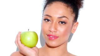 Stunning African American Girl With Green Apple