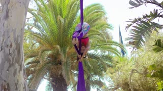 Supple gymnast giving an acrobatic dance performance hanging upside down from two purple silk ribbons in a tropical park with palm trees