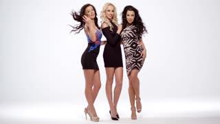 Three vivacious sexy women in black