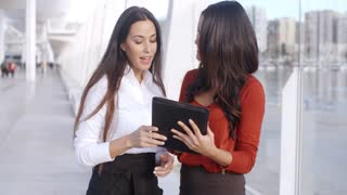 Two Elegant Dressed Business Women Talking