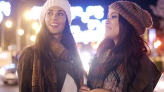 Two female friends enjoying a night on the town