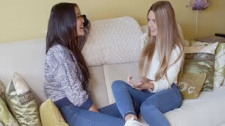 Two young woman enjoying a chat