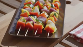 Vegetable kebabs with assorted fresh vegetables