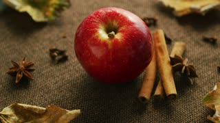 From above shot of ripe red shiny apple on canvas napkin with aromatic cinnamon sticks and anise stars