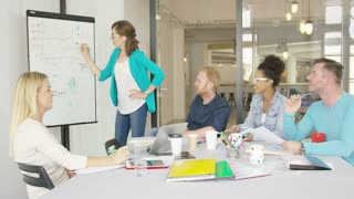 Group of people sitting at desktop in contemporary office and listening to presentation of young female coworkers drawing graphic on board.