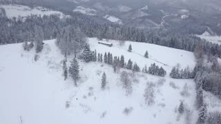 Picturesque view from drone of tranquil snowy lands of mountains range with endless coniferous woods in cold winter, Poland.