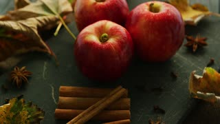 Red apples and cinnamon with anise on dark wooden table