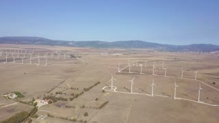 Shot taken with drone of spacious terrain of desert with plenty of rotating white windmills on industrial plantation in bright sunlight.