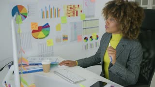 Young curly model in elegant and formal outfit sitting at working desktop with charts on wall and doing her job on computer looking serious.