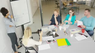 Young people working together in contemporary office listening to coworker making presentation with graphic on board.