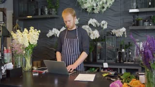 Young redhead man in striped apron standing at wooden counter in floral shop alone using laptop and looking away.