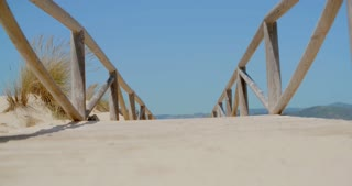View on a Bridge on Sandy Beach