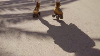 Vintage Roller Skater On The Street.