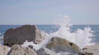 Waves crashing on the rocks