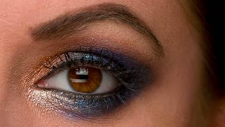 Woman Eye With Artistic Colorful Glamour Makeup