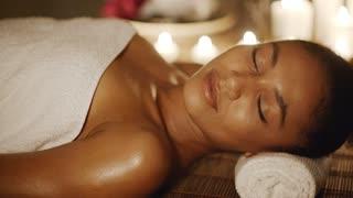 Woman Relaxing In A Wellness Center