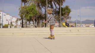 Woman Riding On Vintage Roller Skates.