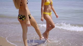 Young female friends relaxing at the beach