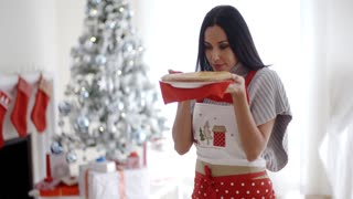Young woman baking Christmas treats
