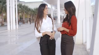 Young woman pointing something out to a friend