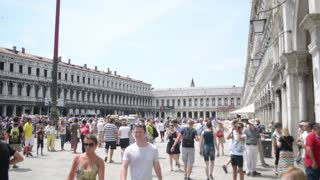 A crowd of tourists at the Piazza San Marco in Venice