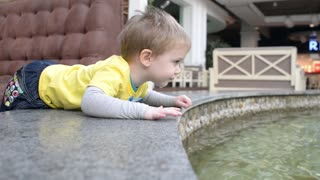 A little boy looking at goldfish in the pool