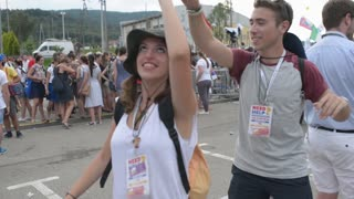 A young couple from Italy dancing in the street